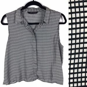 Zara Woman Square Print Sleeveless Top